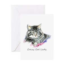 Crazy Cat Lady Fun Quote Greeting Cards