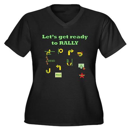Get Ready Rally Women's Plus Size V-Neck Dark T-Sh