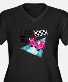 Watch out I Skate Like A Girl Plus Size T-Shirt