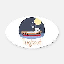Tugboat Oval Car Magnet