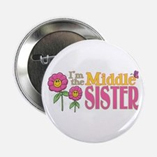 Middle Sister with Flowers Button