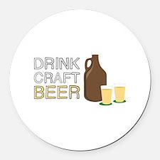 Drink Craft Beer Round Car Magnet