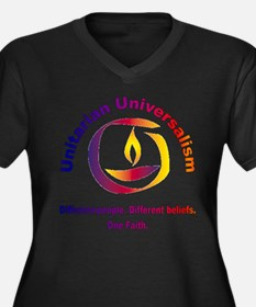 Rainbow Chalice_one faith Women's Plus Size V-Neck