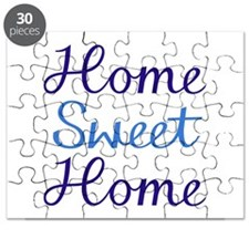 Home Sweet Home Script Cyan & Blue Puzzle