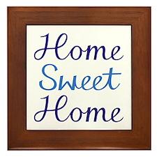 Home Sweet Home Script Cyan & Blue Framed Tile