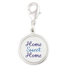 Home Sweet Cyan/blue Silver Round Charm Charms