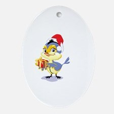 Christmas Bluebird with Gift Oval Ornament