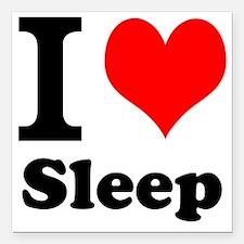 "I Love Sleep Square Car Magnet 3"" x 3"""