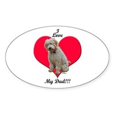 Golden Doodle Love Dad Oval Decal