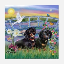 Sunrise Lilies / Doxie's Rule Tile Coaster