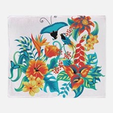 Tropical Flowers Throw Blanket