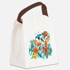Tropical Flowers Canvas Lunch Bag