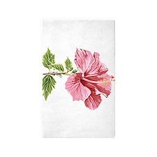 Sketched Pink Hibiscus 3'x5' Area Rug