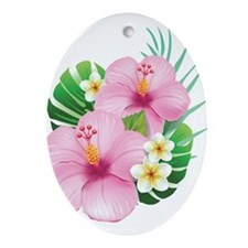 Dual Pink Hibiscus Ornament (Oval)