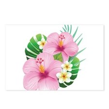Dual Pink Hibiscus Postcards (Package of 8)