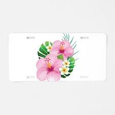 Dual Pink Hibiscus Aluminum License Plate