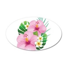 Dual Pink Hibiscus Wall Decal