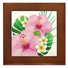 Dual Pink Hibiscus Framed Tile