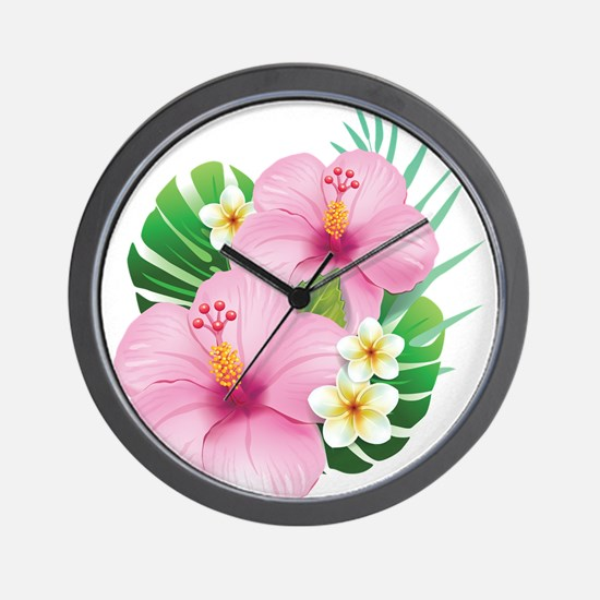 Dual Pink Hibiscus Wall Clock