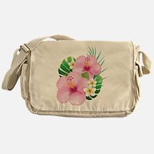 Dual Pink Hibiscus Messenger Bag