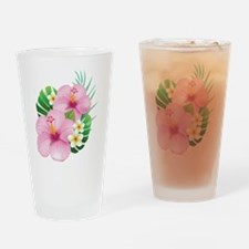 Dual Pink Hibiscus Drinking Glass