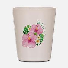Dual Pink Hibiscus Shot Glass