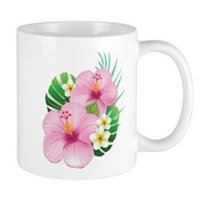 Dual Pink Hibiscus Mugs
