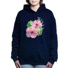 Dual Pink Hibiscus Women's Hooded Sweatshirt