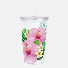 Dual Pink Hibiscus Acrylic Double-wall Tumbler