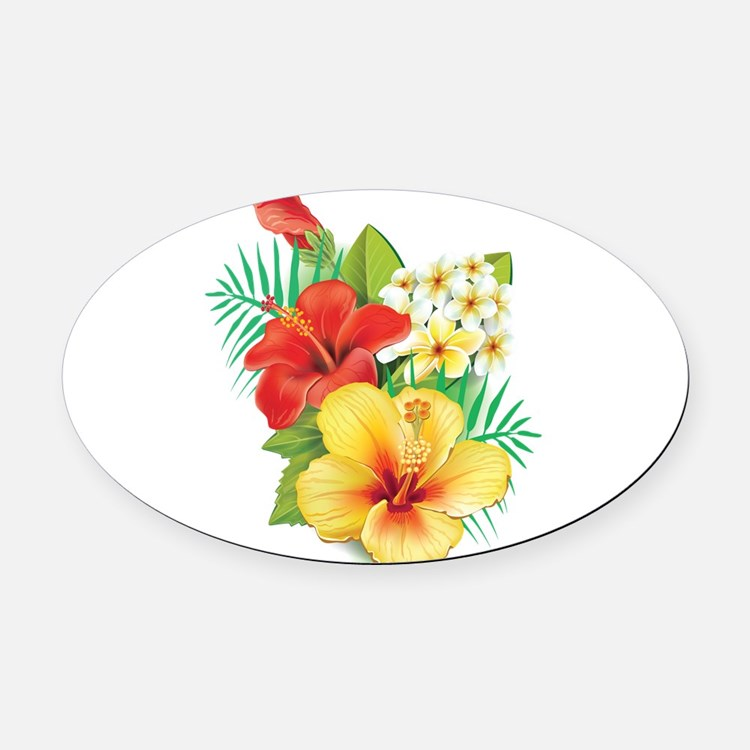 Tropical Hibiscus Oval Car Magnet