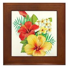 Tropical Hibiscus Framed Tile