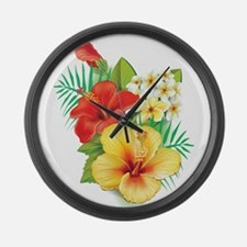Tropical Hibiscus Large Wall Clock