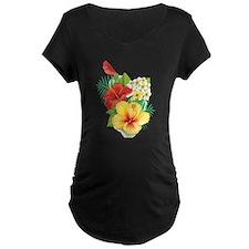 Tropical Hibiscus Maternity T-Shirt