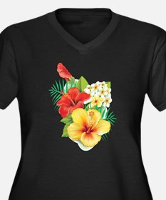 Tropical Hibiscus Plus Size T-Shirt