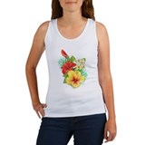 Tropical hibiscus flowers Women's Tank Tops