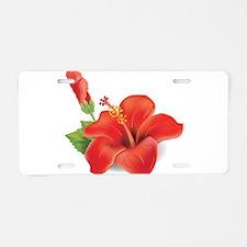 Red Hibiscus Aluminum License Plate