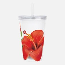 Red Hibiscus Acrylic Double-wall Tumbler