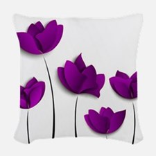 Purple Tulips Woven Throw Pillow