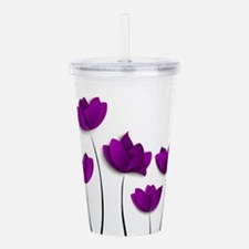 Purple Tulips Acrylic Double-wall Tumbler