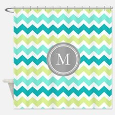 Teal Lime Chevron Monogram Shower Curtain