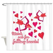 Watch Out For Falling Hearts! Shower Curtain