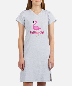 Birthday Girl Pink Flamingo Women's Nightshirt