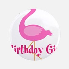 "Birthday Girl Pink Flamingo 3.5"" Button (100 pack)"