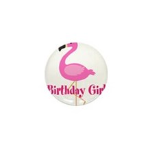 Birthday Girl Pink Flamingo Mini Button (10 pack)