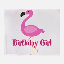 Birthday Girl Pink Flamingo Throw Blanket