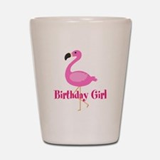 Birthday Girl Pink Flamingo Shot Glass