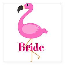 "Bride Pink Flamingo Square Car Magnet 3"" x 3"""