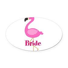 Bride Pink Flamingo Oval Car Magnet