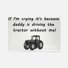 Daddy driving tractor Rectangle Magnet