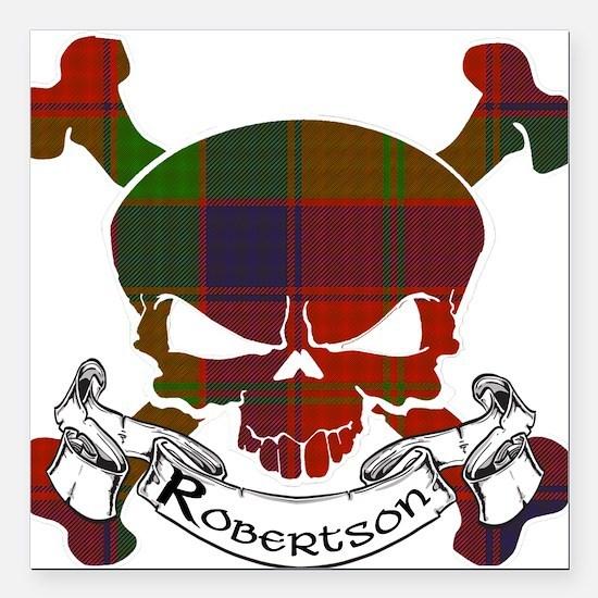"Robertson Tartan Skull Square Car Magnet 3"" x 3"""